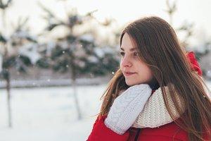 Beautiful winter portrait girl in wh