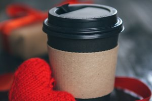 Paper coffee Cup with copyspace. Red