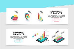 Isometric infographic elements set