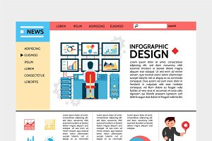 Flat business infographic website