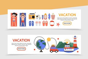 Flat summer travel banners