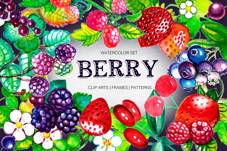 Berry. Big Watercolor Set.