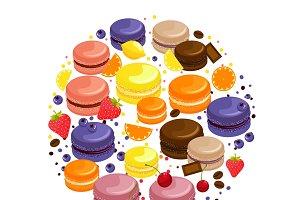 Cartoon colorful tasty macaroons