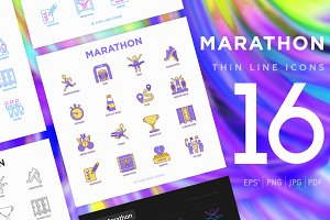 Marathon | 16 Thin Line Icons Set