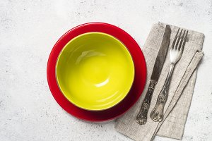 Colored dinnerware - plate, cutlery