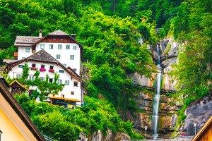 Alpine waterfall at Hallstatt