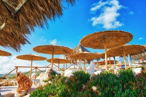 Tropical resort with sunshades