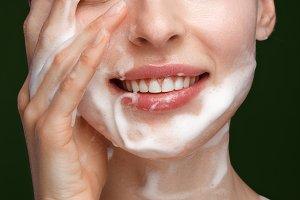 girl with facial wash