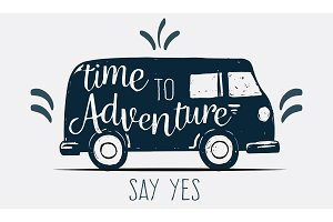 Logo sign time to adventure say yes