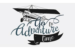 Logo with go to adventure time text