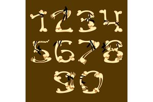 Set of numbers made in bone style