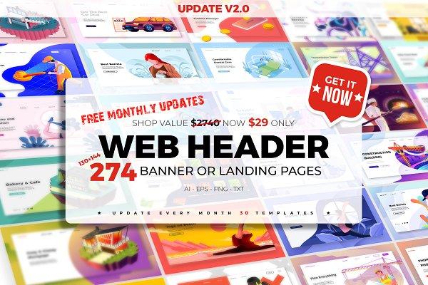 274 WEB HEADERS + FREE Updates.
