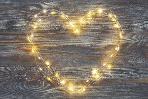 Heart made of garland lights