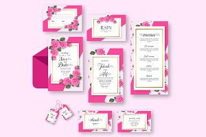 Pink Rose Wedding Invitation Set