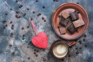 Red heart, hot coffee and chocolate