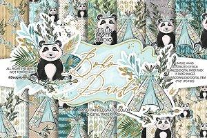 Boho Panda digital paper pack