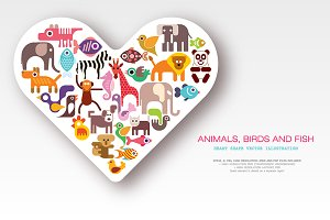 Animals, Birds and Fish vector