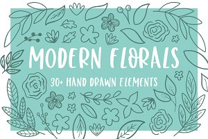 Modern Florals, Hand Drawn Elements