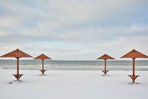 Winter lake landscape view
