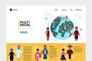 Flat multiracial people website set