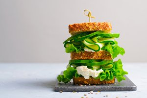 Sandwich with Avocado, Cucumber and