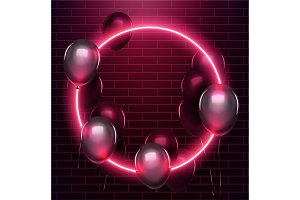 Neon circle with black baloons on