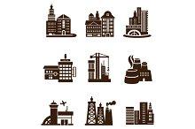 City Building Icons Set