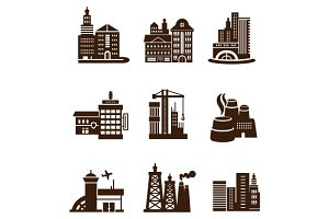 City Building Icons Set