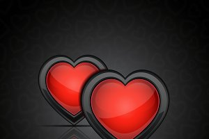 Backgrounds with glossy hearts
