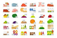 Food market flat icons