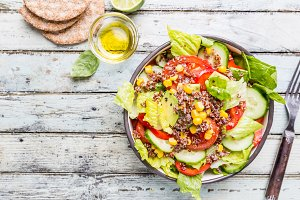 Fresh healthy salad with quinoa