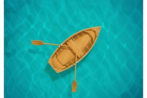 Sea water and wooden boat. Ocean