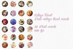 Vintage Floral Collage sheet