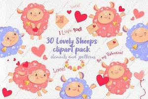 30 Valentine days sheep clipart pack