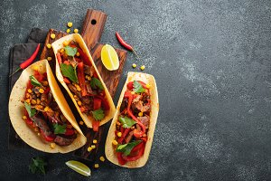 Mexican tacos with beef, vegetables