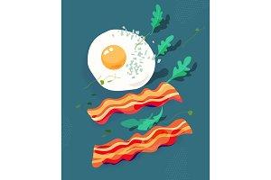 Fried egg and bacon, arugula