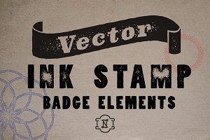 Vector Ink Stamp Badge Elements