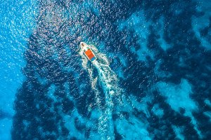 Aerial view of floating speed boat