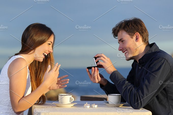 Boyfriend requesting for hand of his girlfriend with a engagement ring.jpg - People