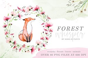 Woodland Watercolor Clipart