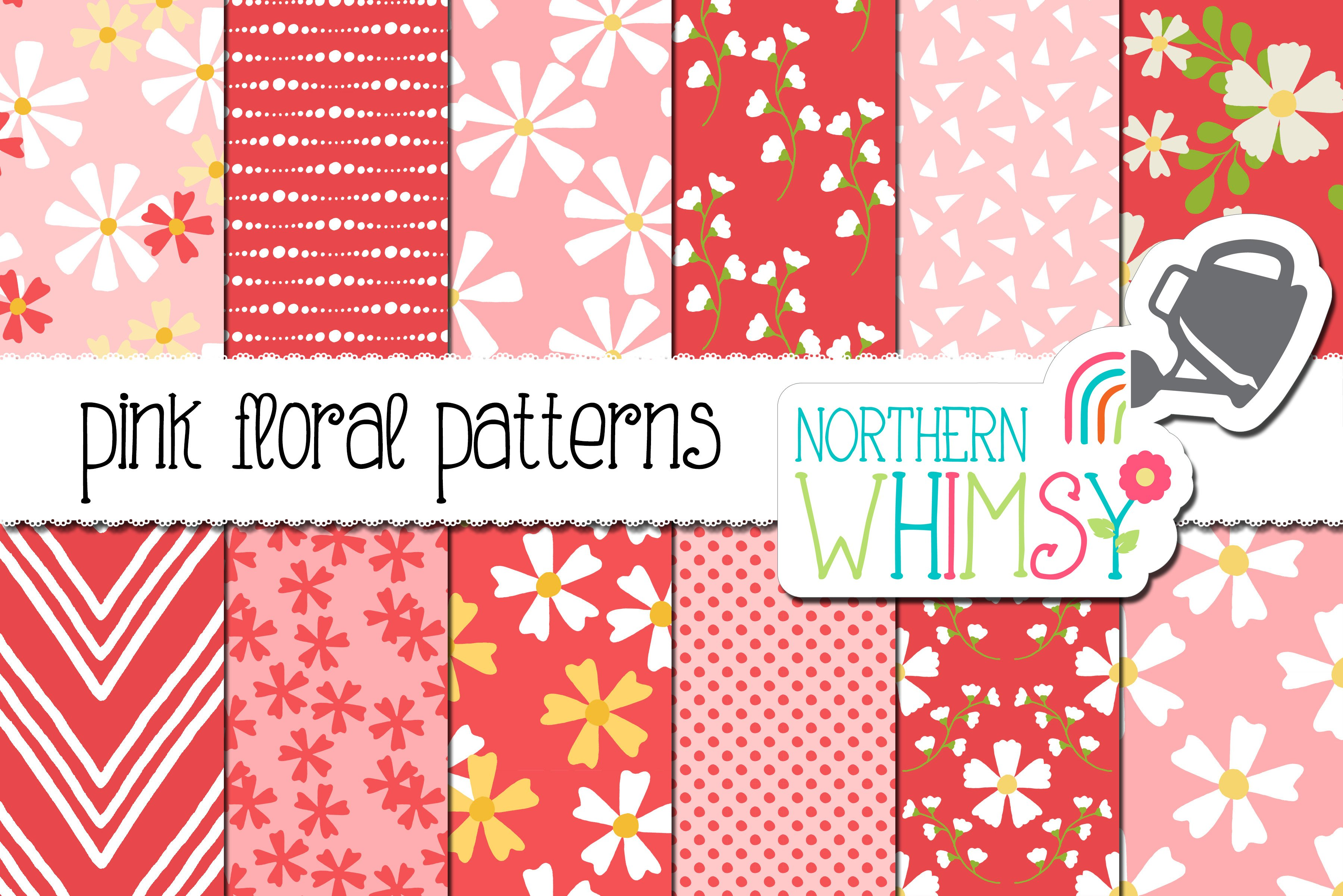 Pink Floral Seamless Patterns Custom Designed Graphic Patterns
