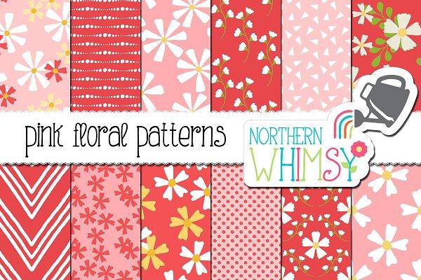 Pink Floral Seamless Patterns