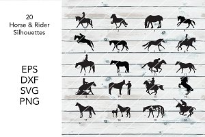 20 Horses and Rider Silhouettes