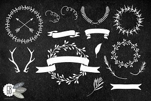 Chalkboard wreaths, laurels, ribbons