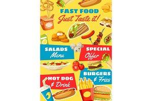 Fast food menu, vector takeaway food