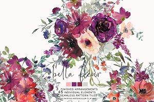Watercolor Purple & Burgundy Florals