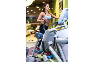 Fit woman doing cardio in an