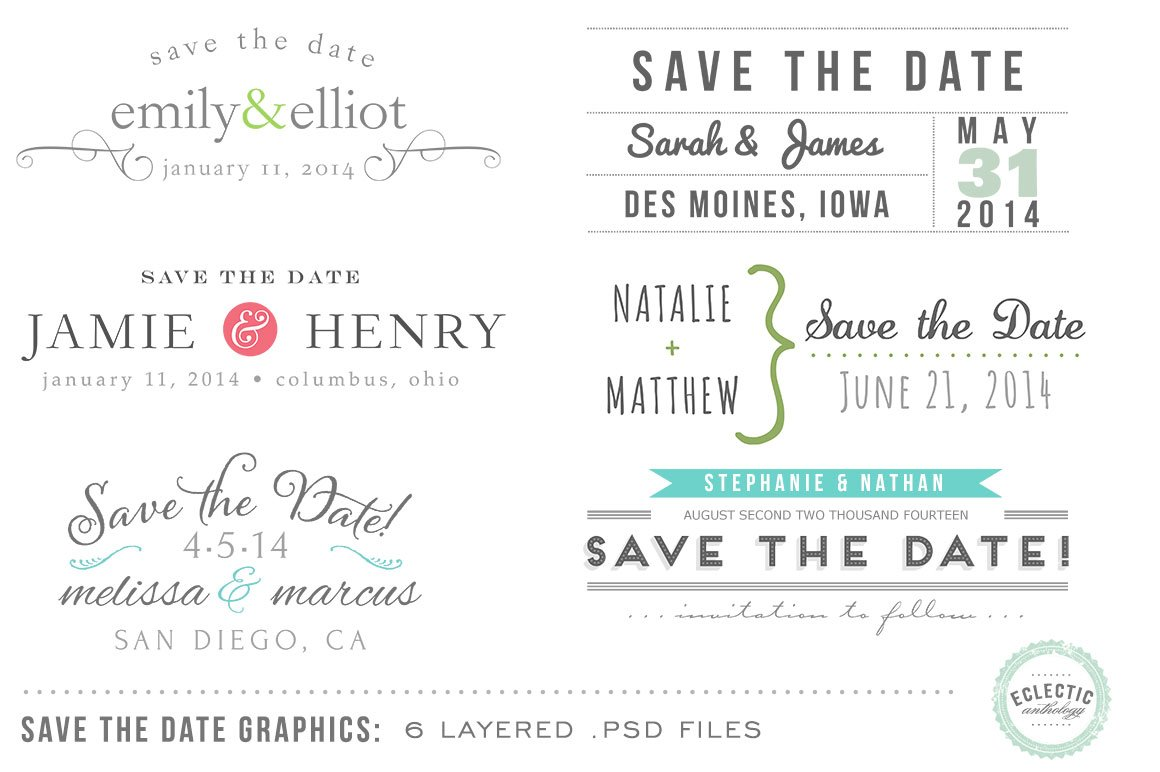 save the date overlays layered psd graphic objects creative market