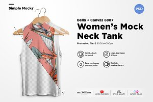 Women's Mock Neck Tank Mockup