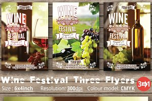 Wine Festival Three Flyers